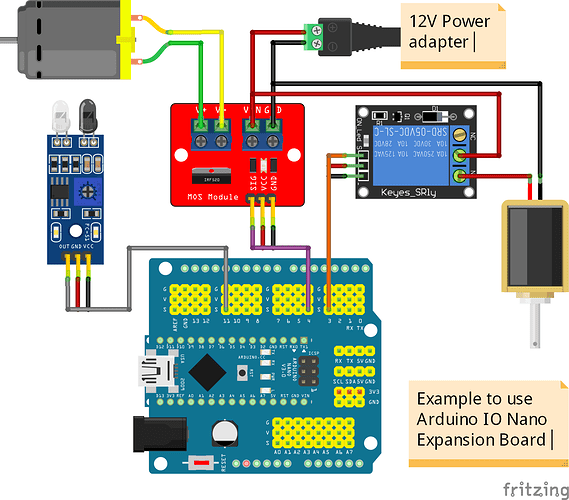 Arduino Nano IO Expansion Board Example