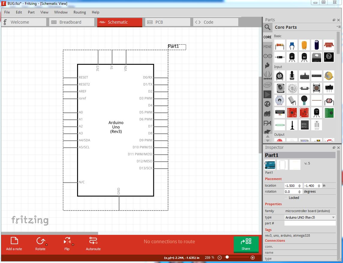 Fritzing Circuit Diagram Alignment - Bugs