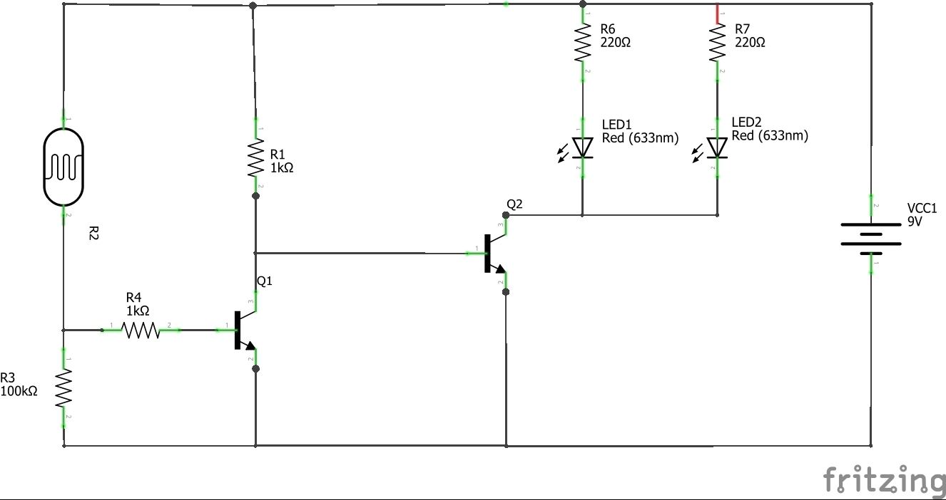 Dark Circuit Dunkelschaltung Beginners Fritzing Forum Ldr Diagram 9v A 10k Resistor Would Reduce The Base Current To Around Milliamp Which Should Still Provide Enough Drive For Leds If Not