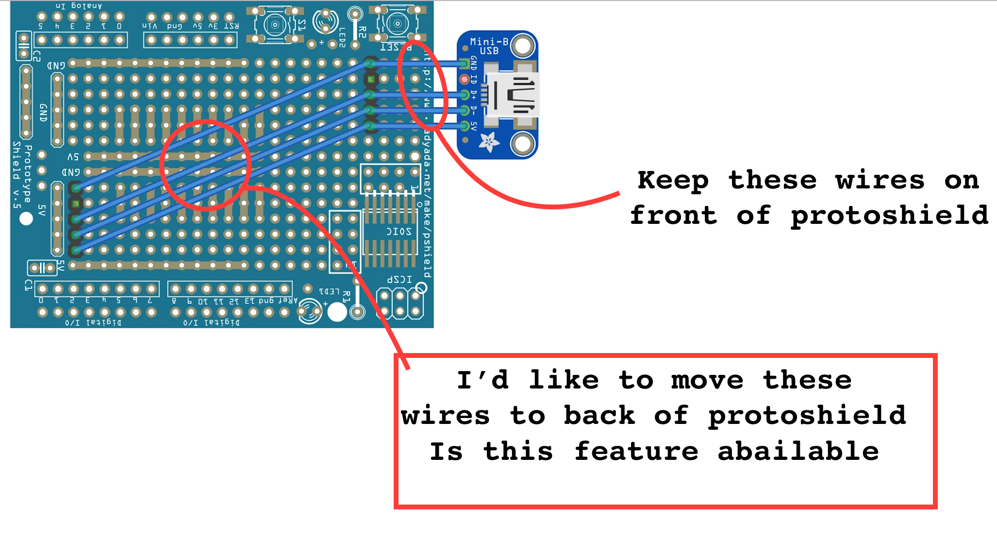 Move Wires To Back Of Protoshield - Beginners